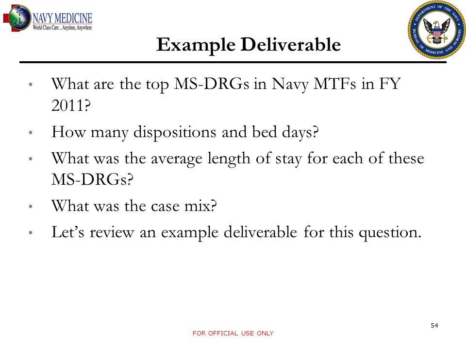Example Deliverable What are the top MS-DRGs in Navy MTFs in FY 2011.