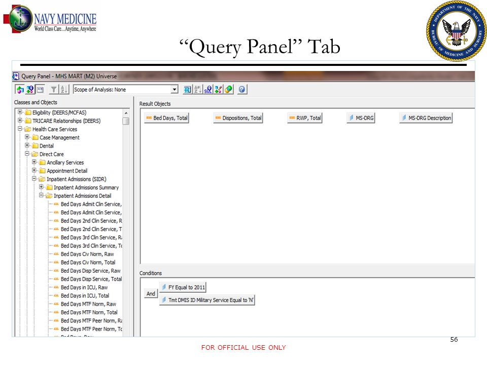 Query Panel Tab FOR OFFICIAL USE ONLY 56