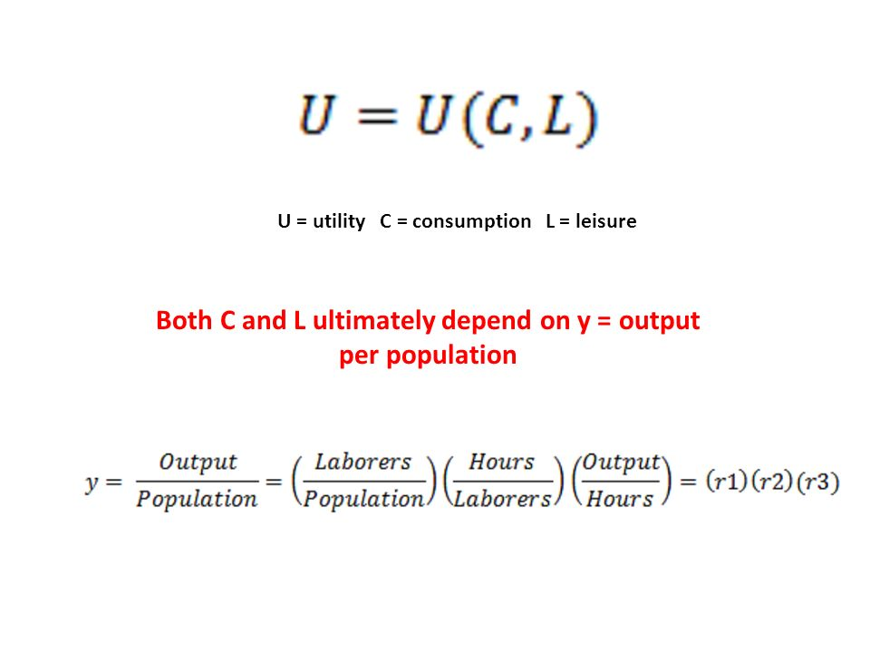U = utility C = consumption L = leisure Both C and L ultimately depend on y = output per population