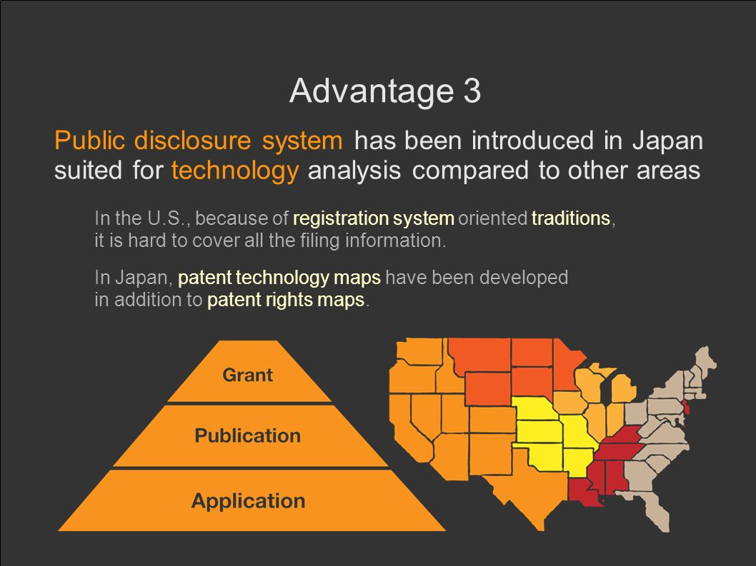 Advantage 3 Public disclosure system has been introduced in Japan suited for technology analysis compared to other areas In the U.S., because of registration system oriented traditions, it is hard to cover all the filing information.