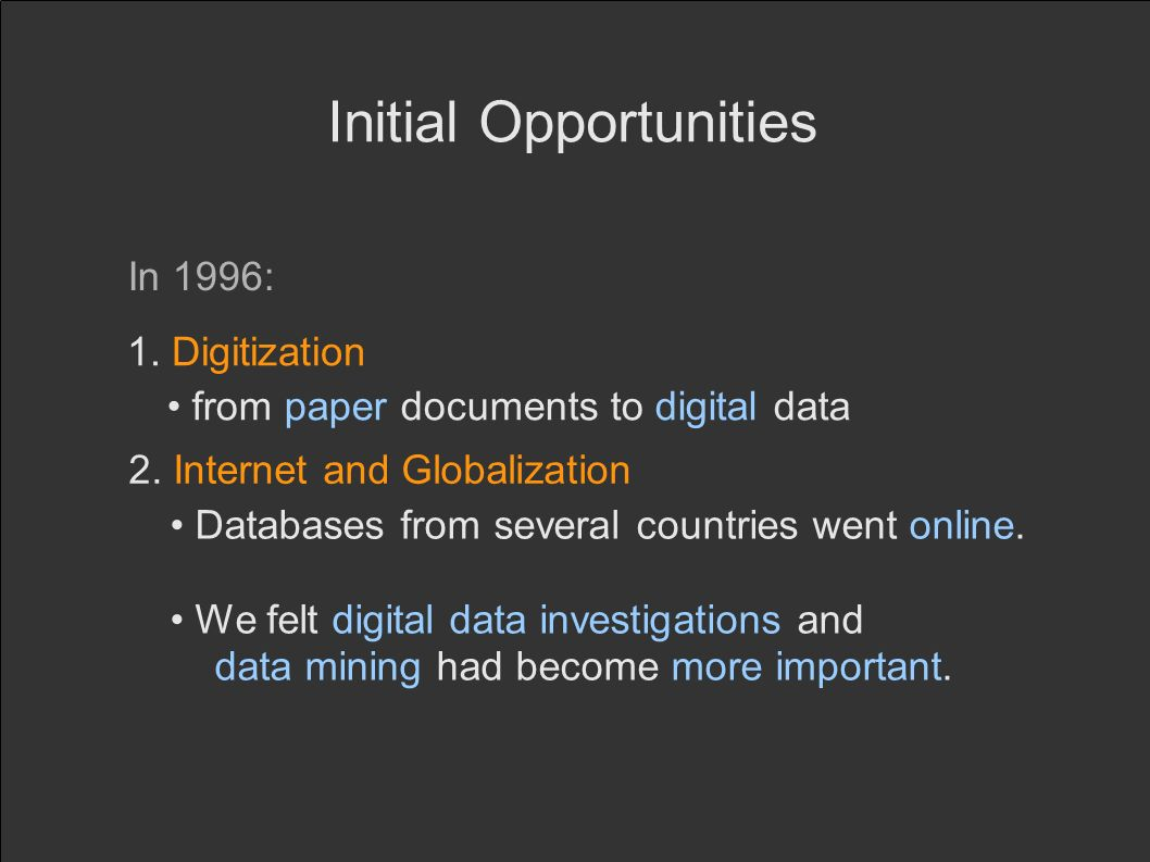 Initial Opportunities In 1996: 1. Digitization 2.