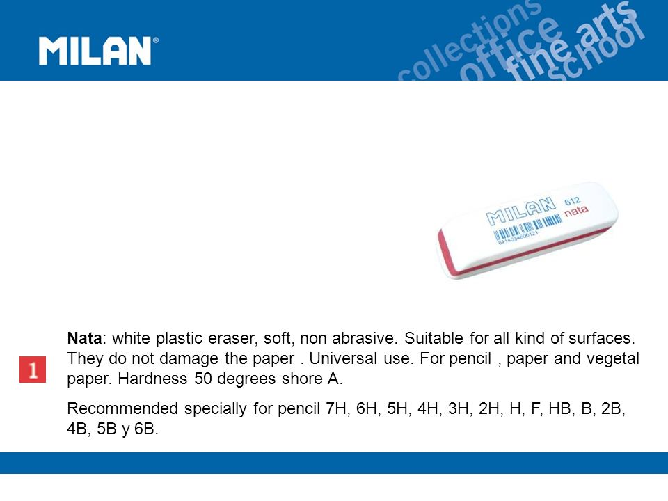 Nata: white plastic eraser, soft, non abrasive. Suitable for all kind of surfaces.