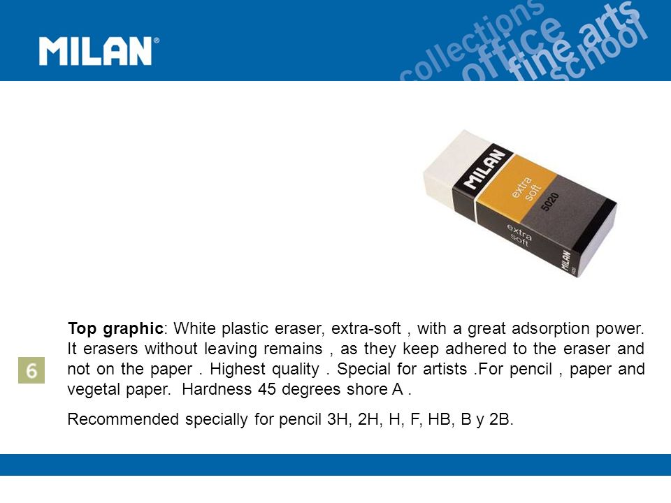 Top graphic: White plastic eraser, extra-soft, with a great adsorption power.