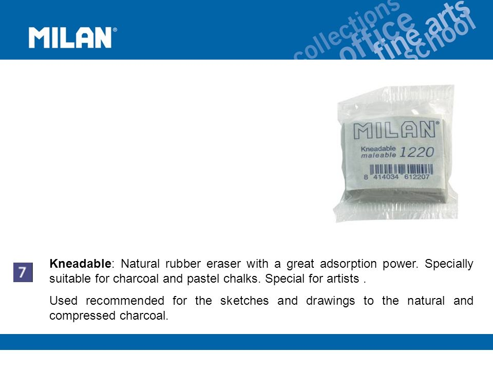 Kneadable: Natural rubber eraser with a great adsorption power.