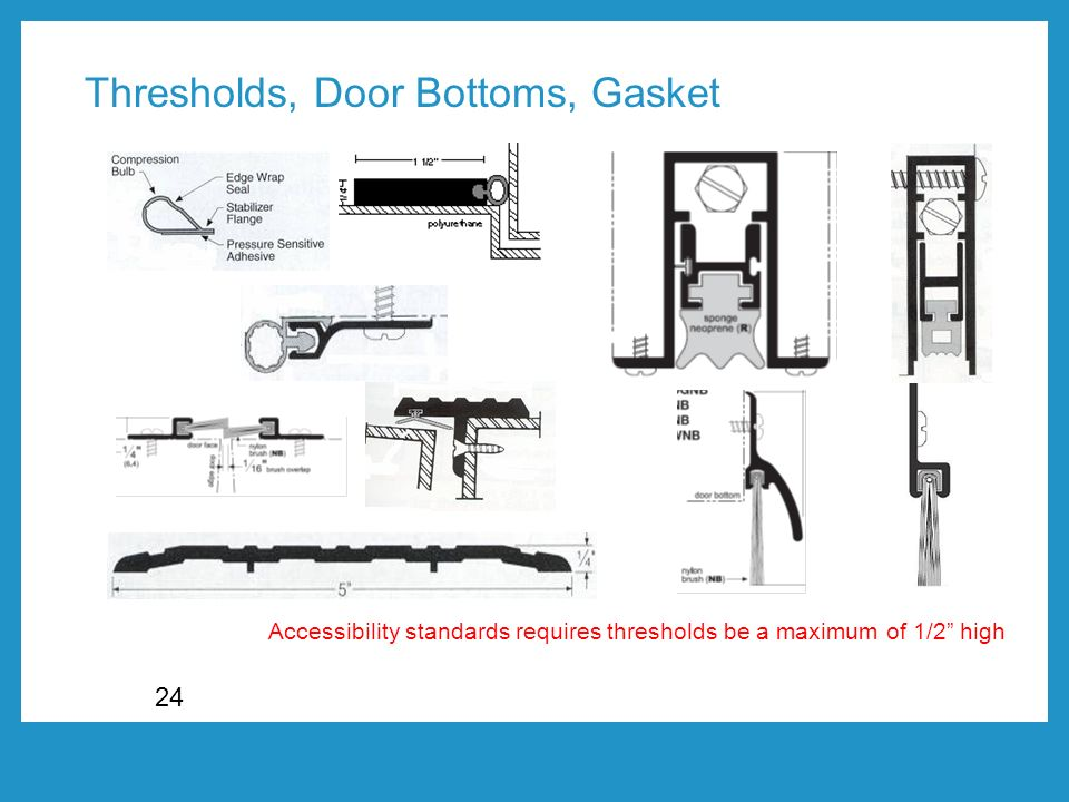 24 Accessibility standards requires thresholds be a maximum of 1/2 high Thresholds, Door Bottoms, Gasket