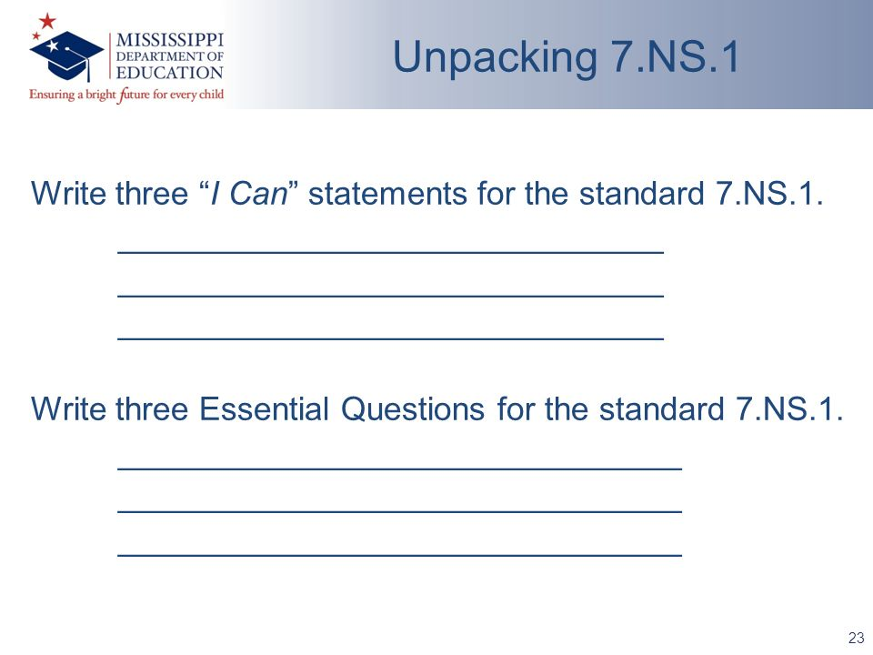 Write three I Can statements for the standard 7.NS.1.