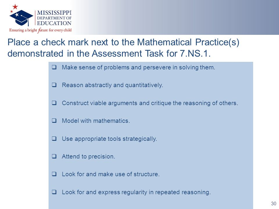 30 Place a check mark next to the Mathematical Practice(s) demonstrated in the Assessment Task for 7.NS.1.