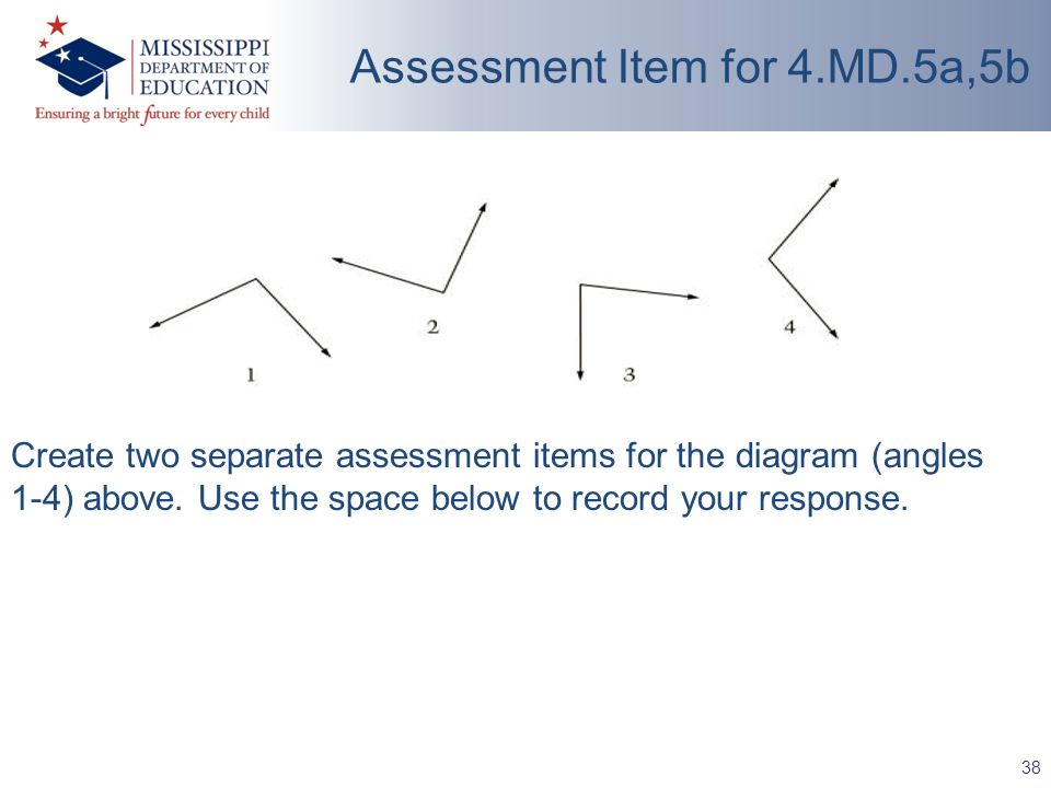 38 Assessment Item for 4.MD.5a,5b Create two separate assessment items for the diagram (angles 1-4) above.
