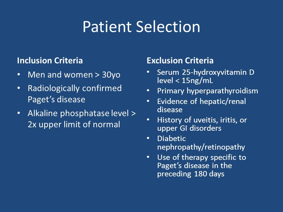 Patient Selection Inclusion Criteria Men and women > 30yo Radiologically confirmed Pagets disease Alkaline phosphatase level > 2x upper limit of normal Exclusion Criteria Serum 25-hydroxyvitamin D level < 15ng/mL Primary hyperparathyroidism Evidence of hepatic/renal disease History of uveitis, iritis, or upper GI disorders Diabetic nephropathy/retinopathy Use of therapy specific to Pagets disease in the preceding 180 days