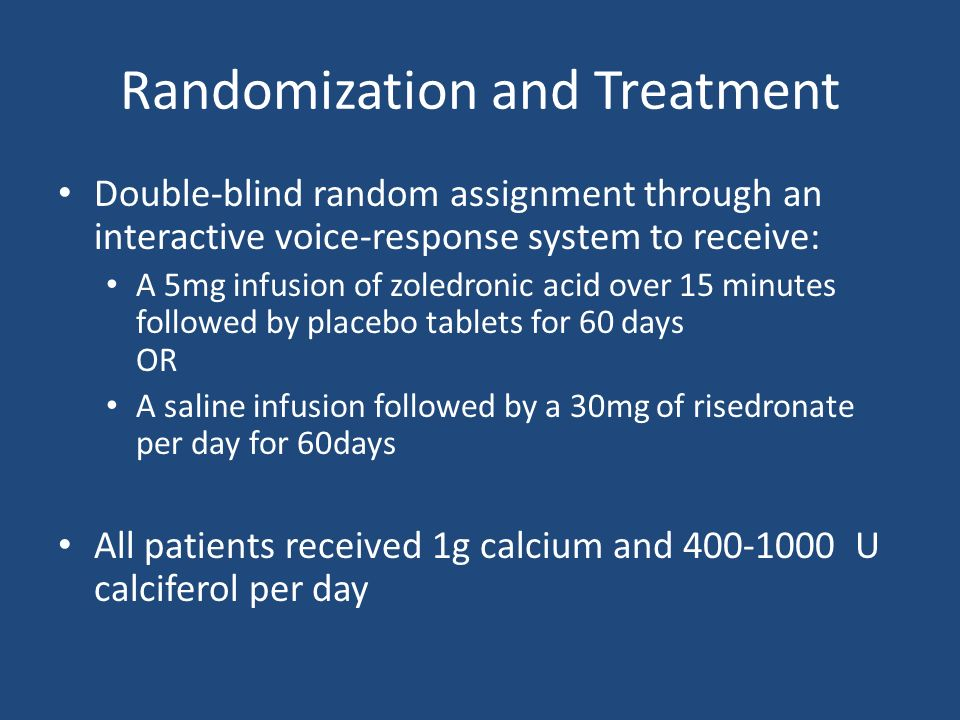 Randomization and Treatment Double-blind random assignment through an interactive voice-response system to receive: A 5mg infusion of zoledronic acid over 15 minutes followed by placebo tablets for 60 days OR A saline infusion followed by a 30mg of risedronate per day for 60days All patients received 1g calcium and 400-1000 U calciferol per day
