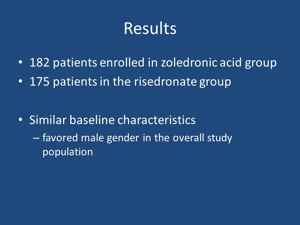 Results 182 patients enrolled in zoledronic acid group 175 patients in the risedronate group Similar baseline characteristics – favored male gender in the overall study population