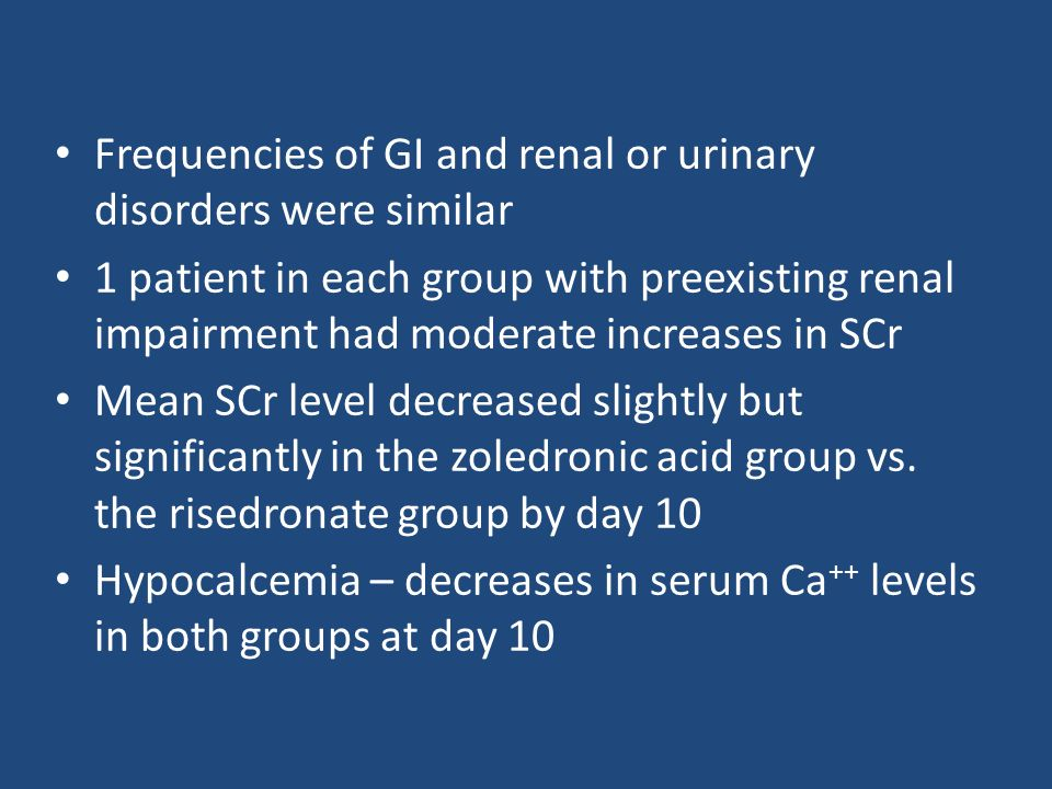 Frequencies of GI and renal or urinary disorders were similar 1 patient in each group with preexisting renal impairment had moderate increases in SCr Mean SCr level decreased slightly but significantly in the zoledronic acid group vs.