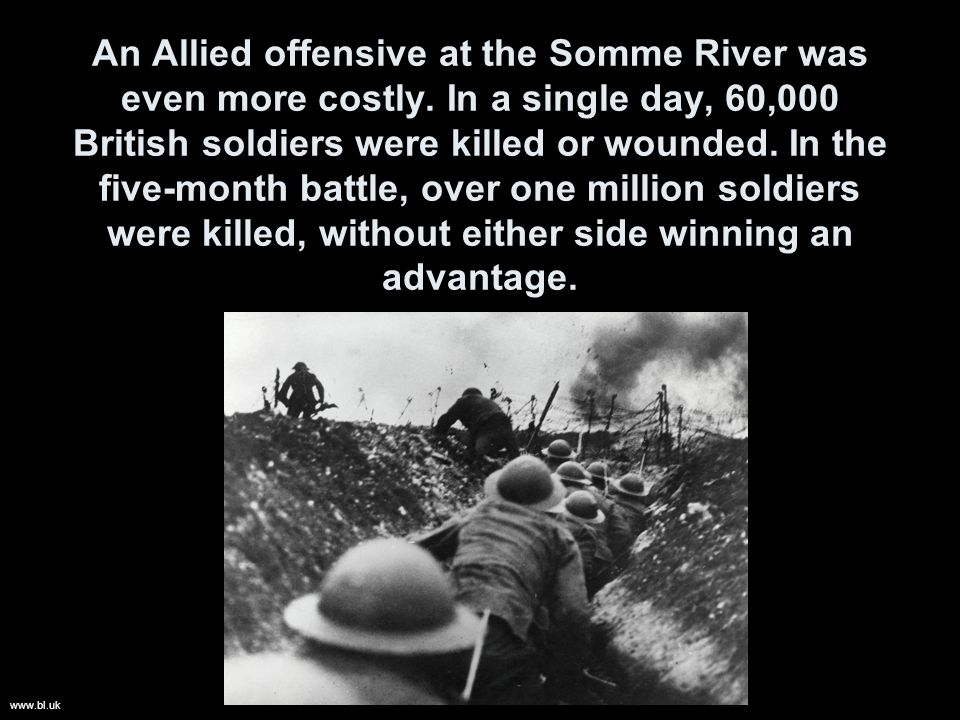 An Allied offensive at the Somme River was even more costly.