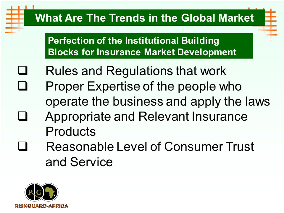 Perfection of the Institutional Building Blocks for Insurance Market Development What Are The Trends in the Global Market Rules and Regulations that work Proper Expertise of the people who operate the business and apply the laws Appropriate and Relevant Insurance Products Reasonable Level of Consumer Trust and Service