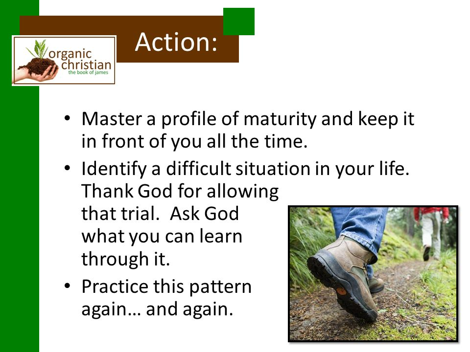 Action: Master a profile of maturity and keep it in front of you all the time.