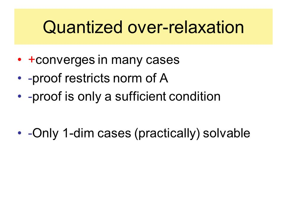 Quantized over-relaxation +converges in many cases -proof restricts norm of A -proof is only a sufficient condition -Only 1-dim cases (practically) solvable