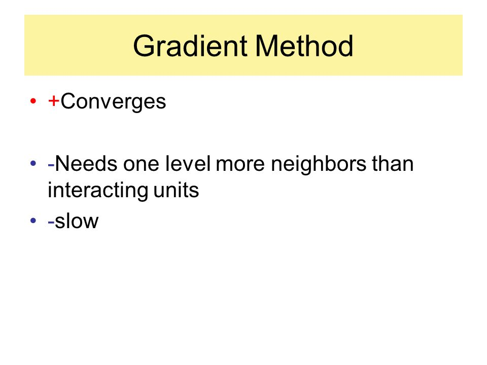 Gradient Method +Converges -Needs one level more neighbors than interacting units -slow