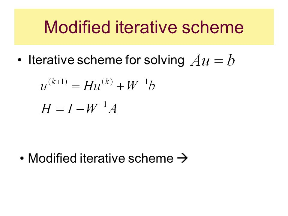 Modified iterative scheme Iterative scheme for solving Modified iterative scheme