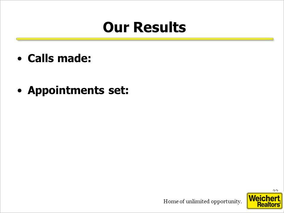 32 Home of unlimited opportunity. Our Results Calls made: Appointments set: