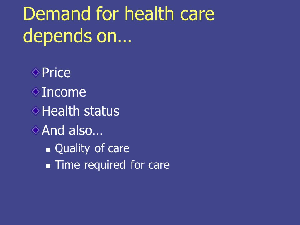 Demand for health care depends on… Price Income Health status And also… Quality of care Time required for care