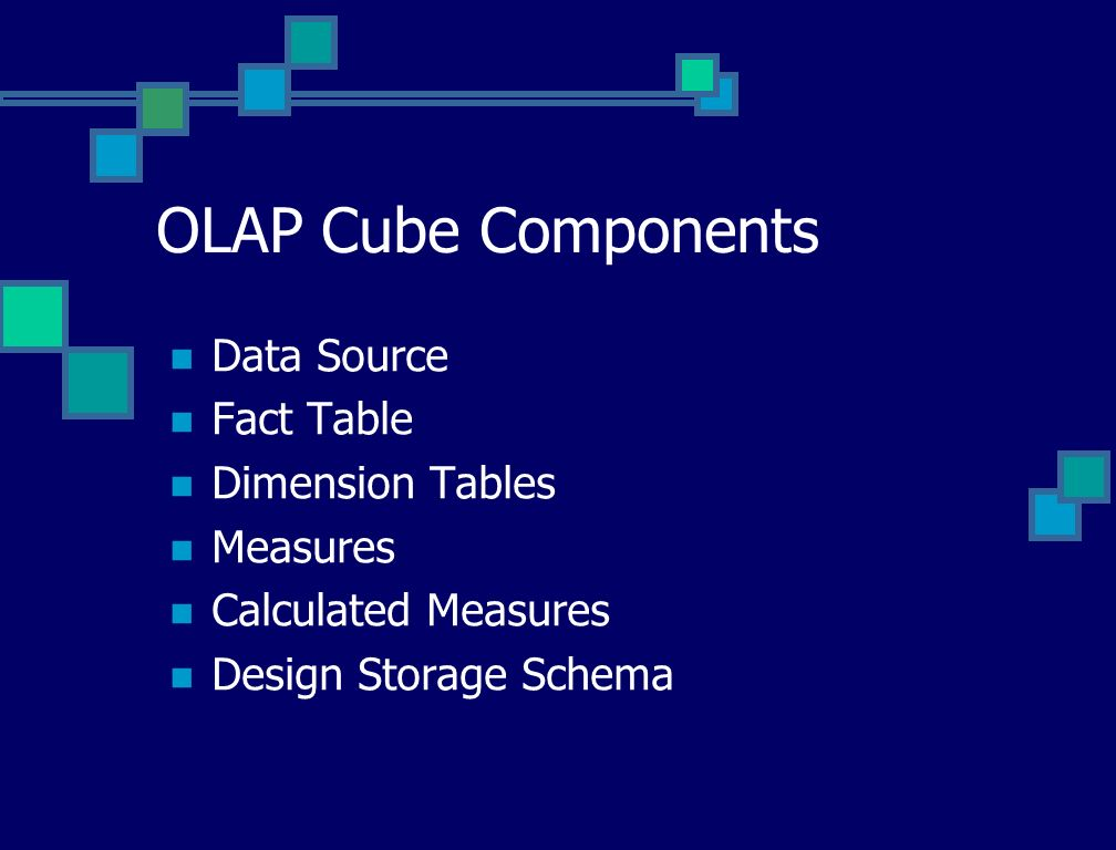 OLAP Cube Components Data Source Fact Table Dimension Tables Measures Calculated Measures Design Storage Schema