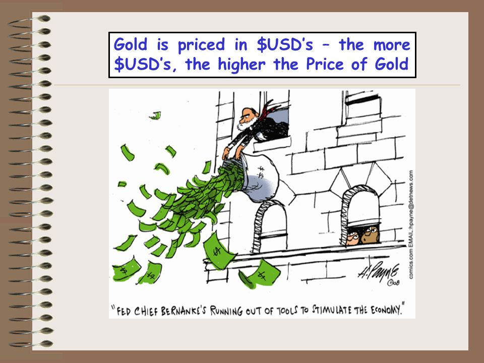 Gold is priced in $USDs – the more $USDs, the higher the Price of Gold