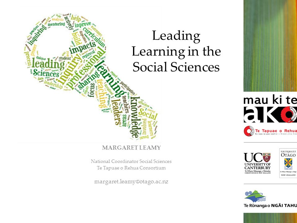 Leading Learning in the Social Sciences MARGARET LEAMY National Coordinator Social Sciences Te Tapuae o Rehua Consortium