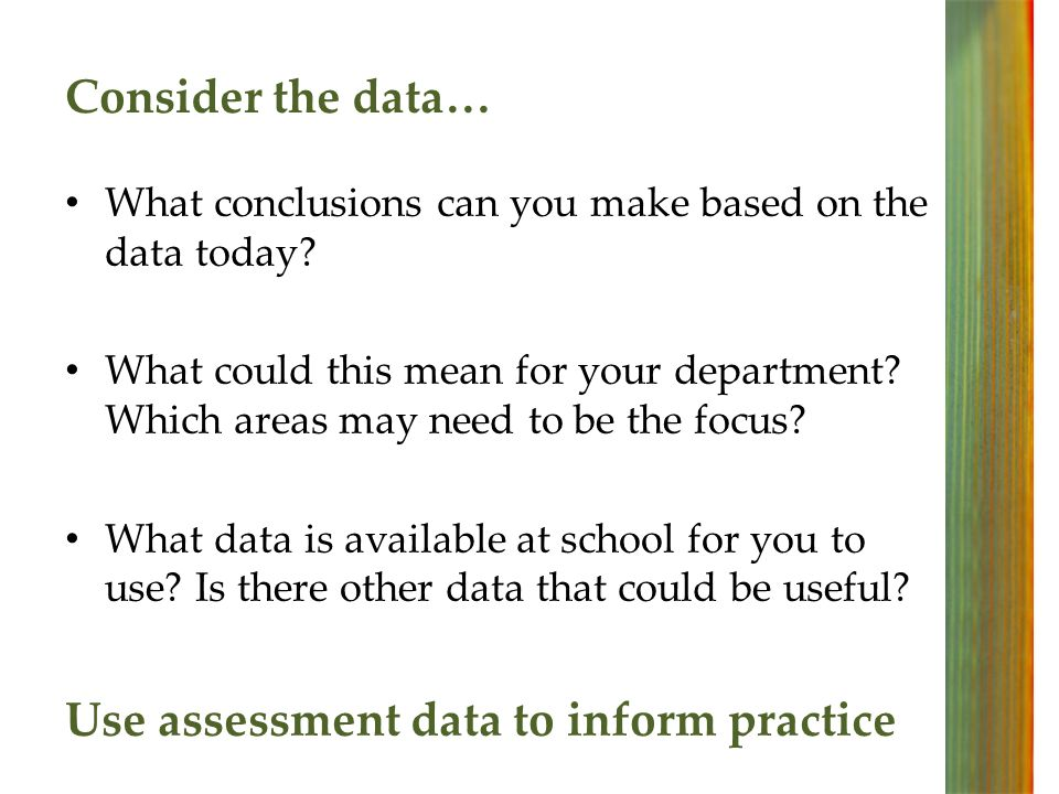 Consider the data… What conclusions can you make based on the data today.
