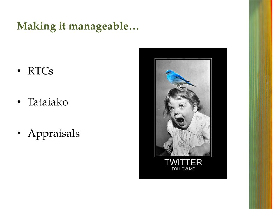 Making it manageable… RTCs Tataiako Appraisals