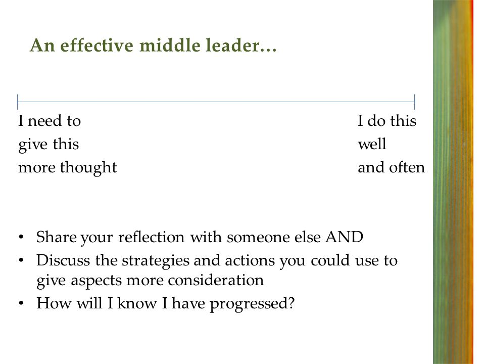 An effective middle leader… I needtoI do this give thiswell more thoughtand often Share your reflection with someone else AND Discuss the strategies and actions you could use to give aspects more consideration How will I know I have progressed