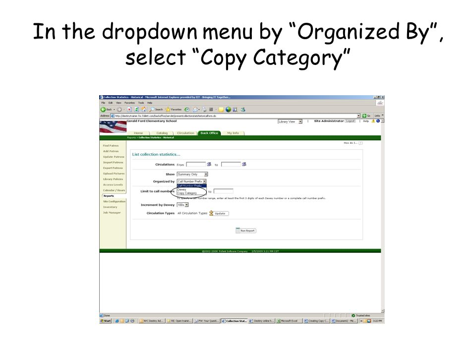 In the dropdown menu by Organized By, select Copy Category