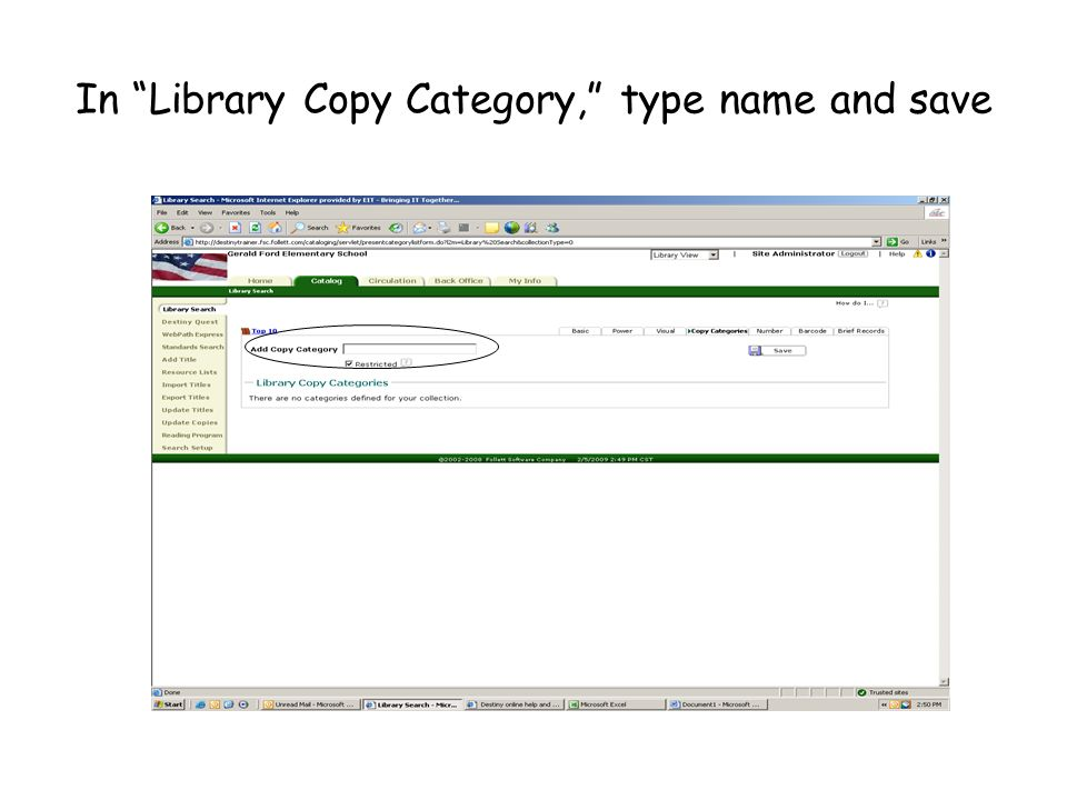 In Library Copy Category, type name and save