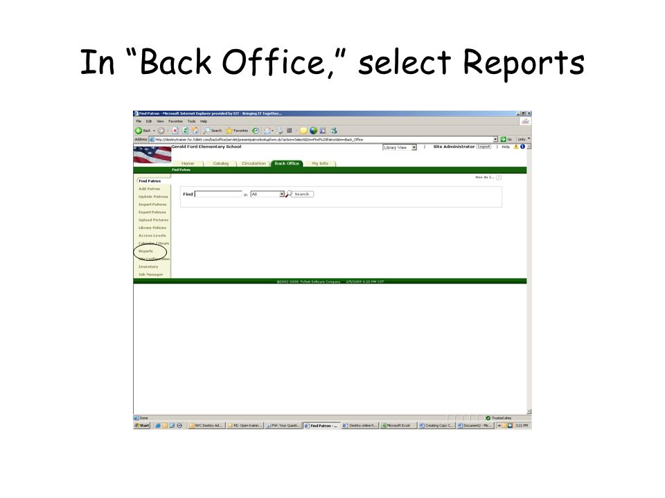 In Back Office, select Reports