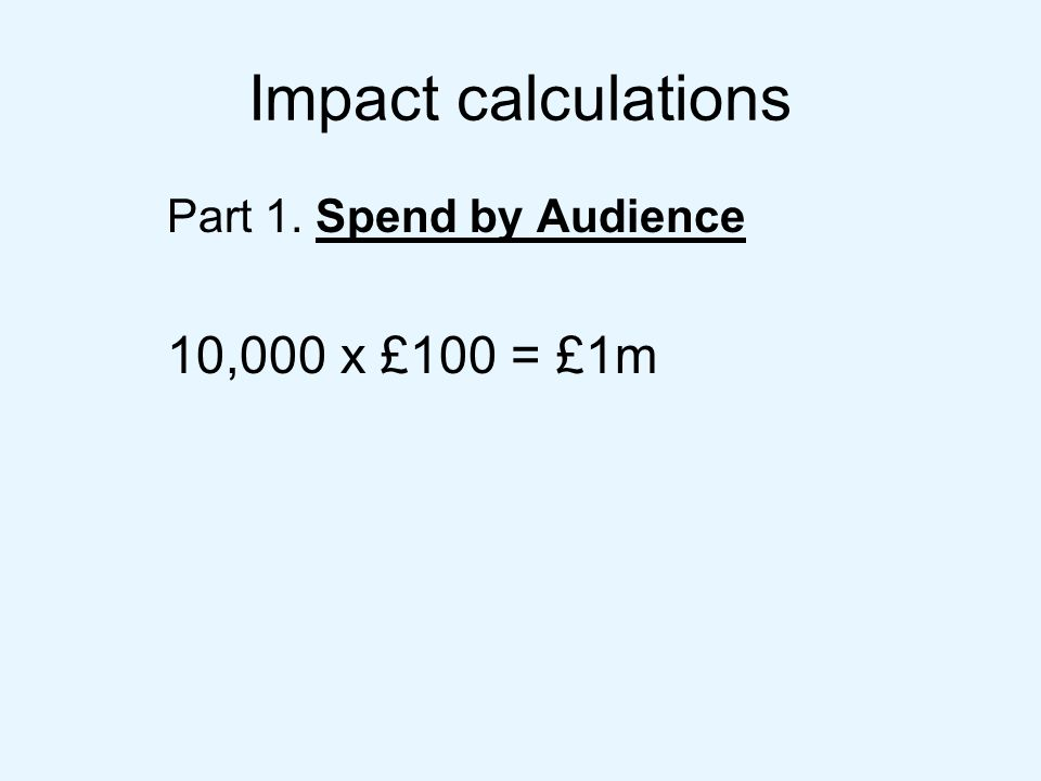 Impact calculations Part 1. Spend by Audience 10,000 x £100 = £1m