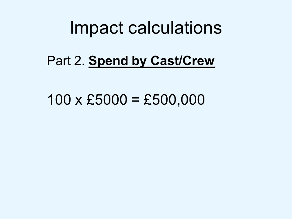 Impact calculations Part 2. Spend by Cast/Crew 100 x £5000 = £500,000