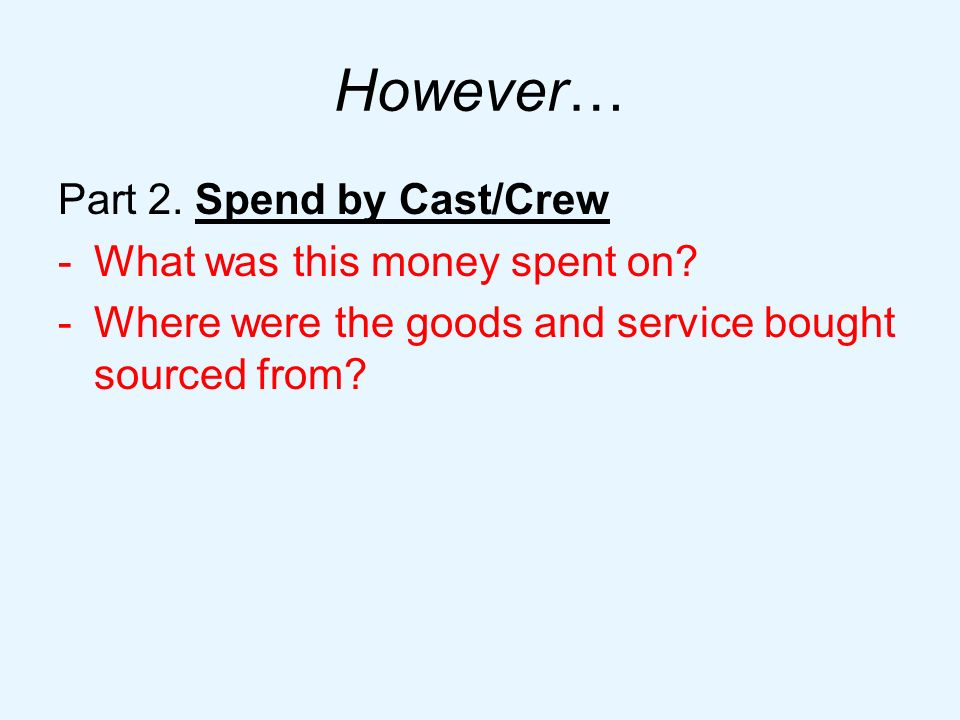 However… Part 2. Spend by Cast/Crew -What was this money spent on.