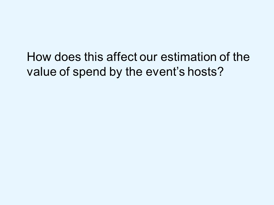 How does this affect our estimation of the value of spend by the events hosts