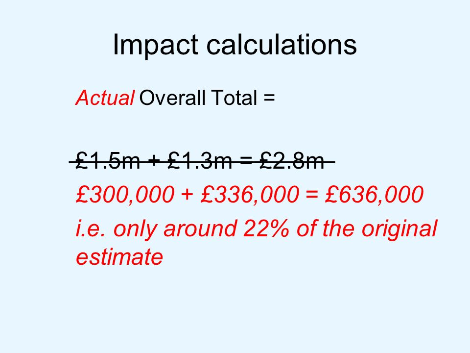 Impact calculations Actual Overall Total = £1.5m + £1.3m = £2.8m £300,000 + £336,000 = £636,000 i.e.
