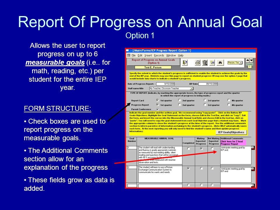 Report Of Progress on Annual Goal Option 1 Allows the user to report progress on up to 6 measurable goals (i.e..