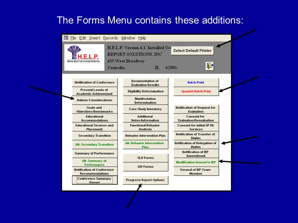 The Forms Menu contains these additions: