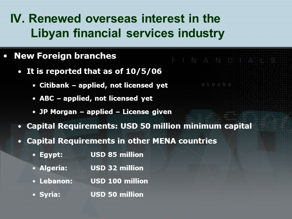 New Foreign branches It is reported that as of 10/5/06 Citibank – applied, not licensed yet ABC – applied, not licensed yet JP Morgan – applied – License given Capital Requirements: USD 50 million minimum capital Capital Requirements in other MENA countries Egypt:USD 85 million Algeria: USD 32 million Lebanon: USD 100 million Syria: USD 50 million IV.
