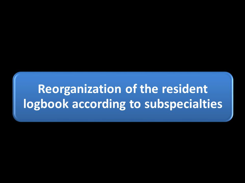 Reorganization of the resident logbook according to subspecialties