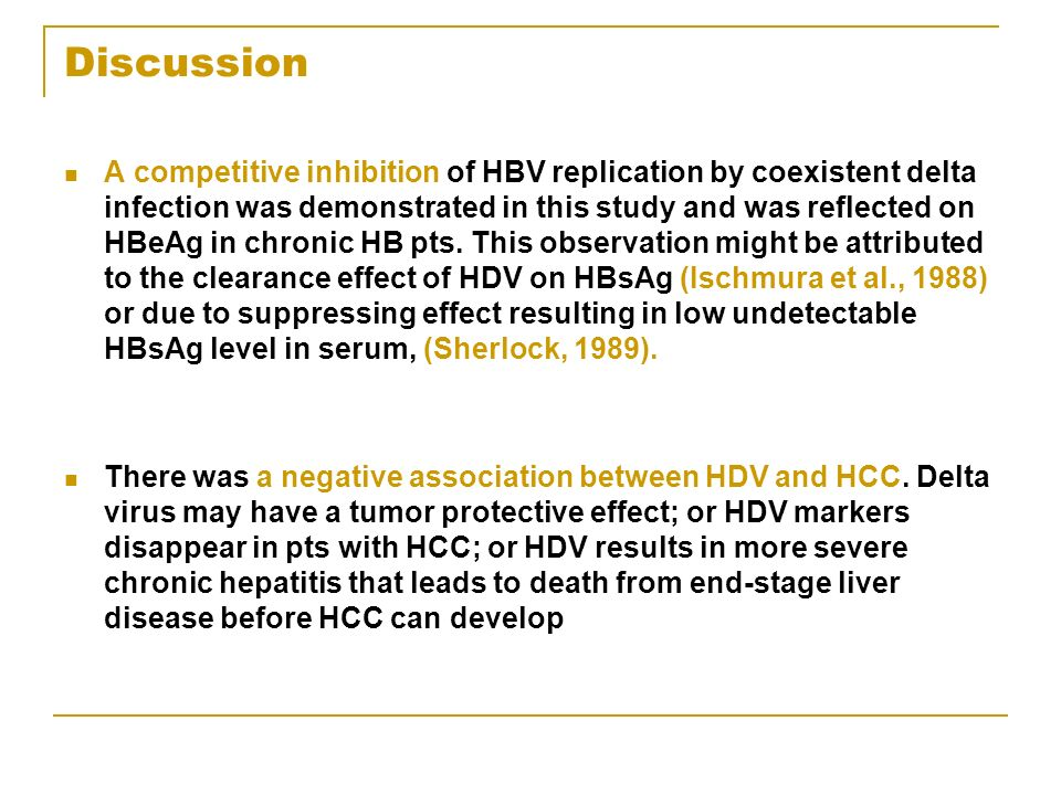 Discussion A competitive inhibition of HBV replication by coexistent delta infection was demonstrated in this study and was reflected on HBeAg in chronic HB pts.