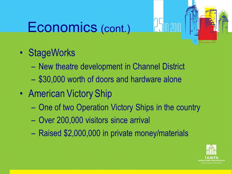 Economics (cont.) StageWorks –New theatre development in Channel District –$30,000 worth of doors and hardware alone American Victory Ship –One of two Operation Victory Ships in the country –Over 200,000 visitors since arrival –Raised $2,000,000 in private money/materials