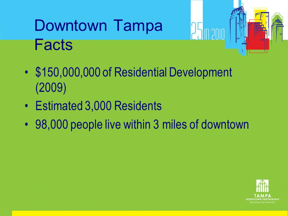 Downtown Tampa Facts $150,000,000 of Residential Development (2009) Estimated 3,000 Residents 98,000 people live within 3 miles of downtown