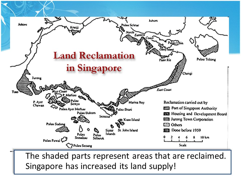 The shaded parts represent areas that are reclaimed. Singapore has increased its land supply!