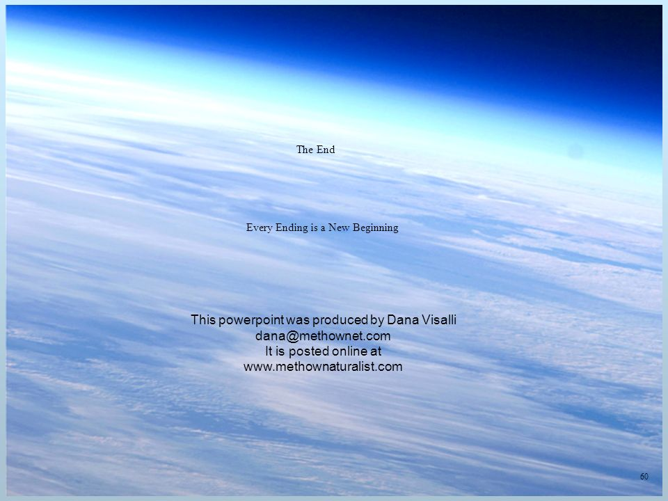 60 The End Every Ending is a New Beginning This powerpoint was produced by Dana Visalli It is posted online at