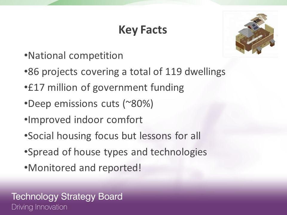 National competition 86 projects covering a total of 119 dwellings £17 million of government funding Deep emissions cuts (~80%) Improved indoor comfort Social housing focus but lessons for all Spread of house types and technologies Monitored and reported.