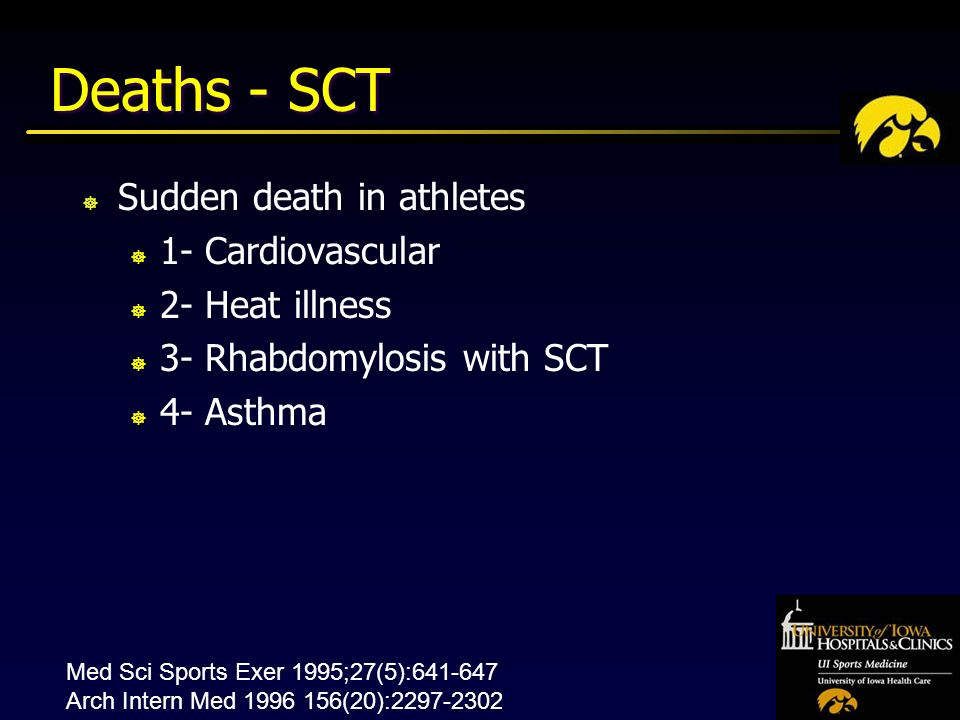 Deaths - SCT ] Sudden death in athletes ] 1- Cardiovascular ] 2- Heat illness ] 3- Rhabdomylosis with SCT ] 4- Asthma Med Sci Sports Exer 1995;27(5): Arch Intern Med (20):