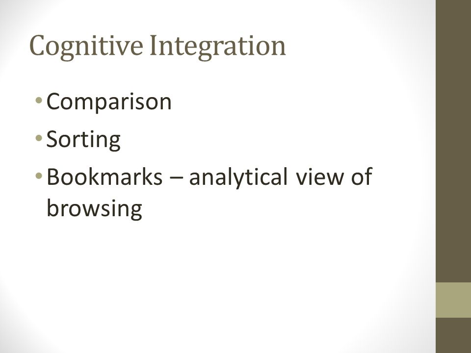 Cognitive Integration Comparison Sorting Bookmarks – analytical view of browsing